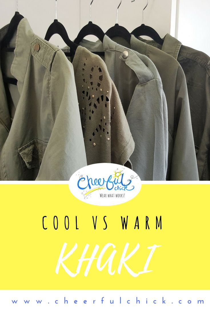 Let's look at identifying warm khaki versus cool khaki. Warm khaki tends toward yellow so it is more green-looking. Cool khaki has grey added, giving it a softer, almost sage green look.