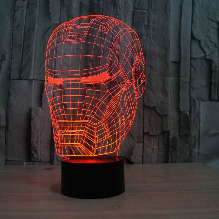 3dイリュージョンナイトライトアイアンマンマスク形状ledテーブルランプとしてギフト送料無料FS-2822