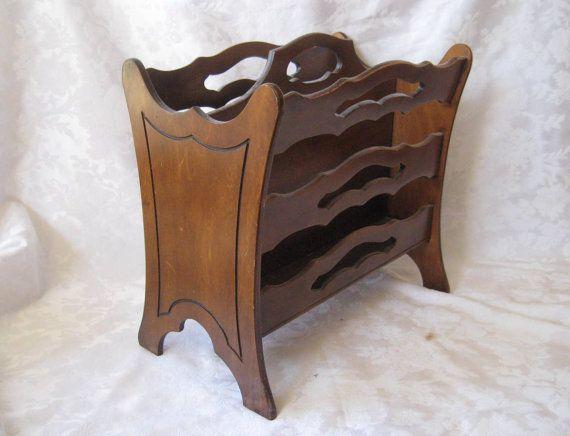 Wood+magazine+rack+victorian+magazine+rack+by+MyShabbyChicShop,+$29,00