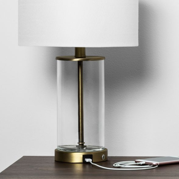 Fillable Accent With Usb Table Lamp Brass Project 62 In 2020 Brass Table Lamps Table Lamp Usb Lamp