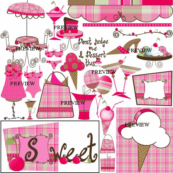 J.Rett Graphics - Just Desserts Digital Download,  (http://store-1xn8h3hs.mybigcommerce.com/just-desserts-digital-download/) Getting what you deserve. High heel shoes, shopping bags, purse, slice of cake, ice-cream cone, mannequin, bathing suit, bikini, table and chairs with umbrella, sundae, cherry, desserts and more.