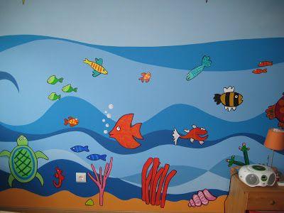 ÀS DUAS POR TRÊS, Arquitetura de Interiores e Decoração: Pintura Decorativa - Quarto de menino - Fundo do mar