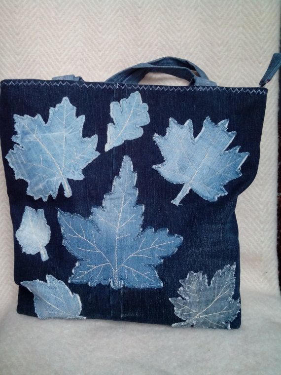 Denim bag. Size 40х43 cm. Leaf Applique Bag. Original, roomy and very comfortable bag.