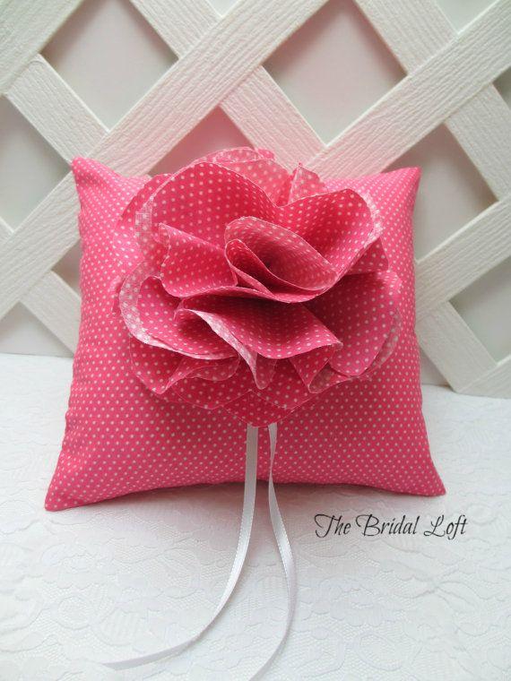 Hot Pink Polka Dot Wedding Ring Pillow Fuchsia Wedding Pillow Hot Pink Wedding Handmade by BridalLoft & 65 best Wedding Ring Bearer Pillows and Alternatives for Your ... pillowsntoast.com