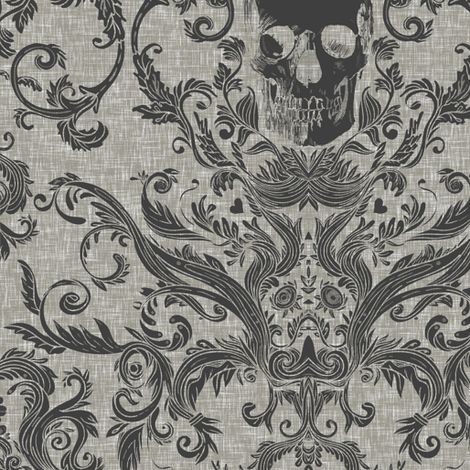 Dread Damask  / Ashen fabric by willowlanetextiles on Spoonflower - custom fabric