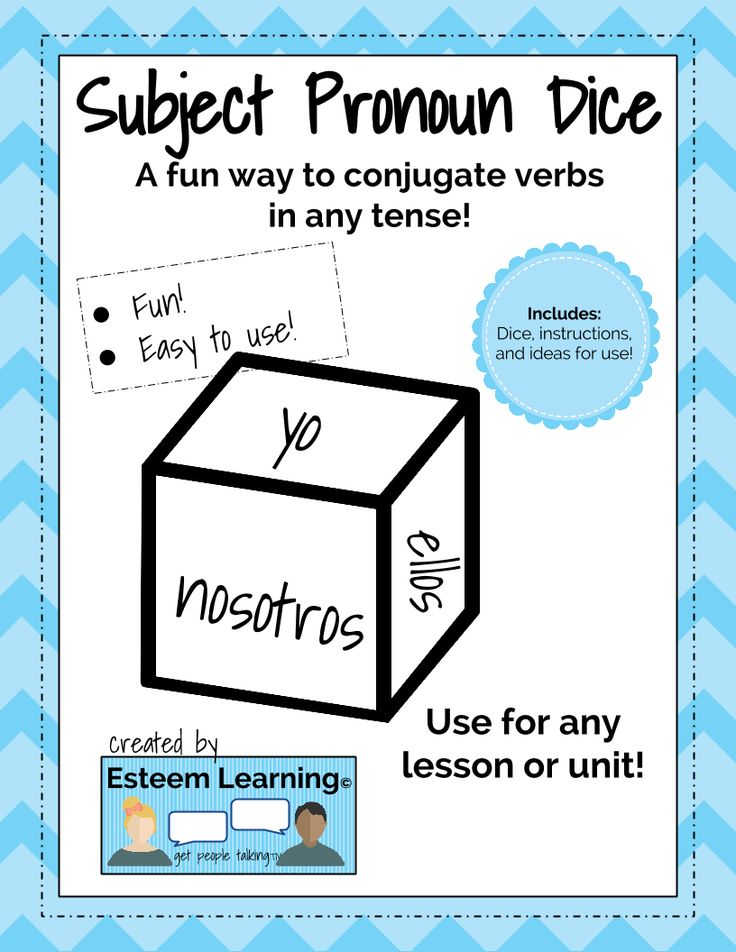 Spanish Subject Pronoun Dice for Verb Conjugation Games This subject pronoun dice is a fun way to conjugate verbs in any tense! Make any tedious verb exercise into a game, and easily use with students while writing or speaking. You can use it in whole-class activities, in groups, partners, or in solo learning activities. Includes dice, instructions, and ideas for use.