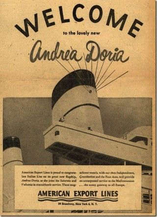 who was the Andrea Doria named after? | AD FOR THE ANDREA DORIA FROM 1953 | PDX RETRO