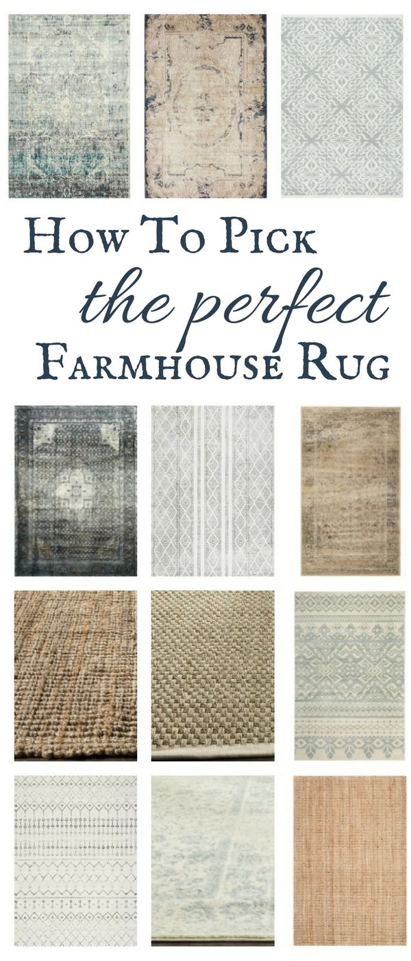 Helpful tips to help you find the perfect farmhouse style rug for your home! #TwelveOnMain #farmhouse #rugs #homedecor #farmhousedecor