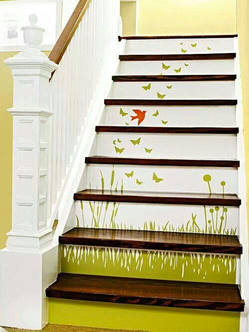 Attractive Stair Decoration Of Wild Flowers, Birds And Butterflies. So Pretty.