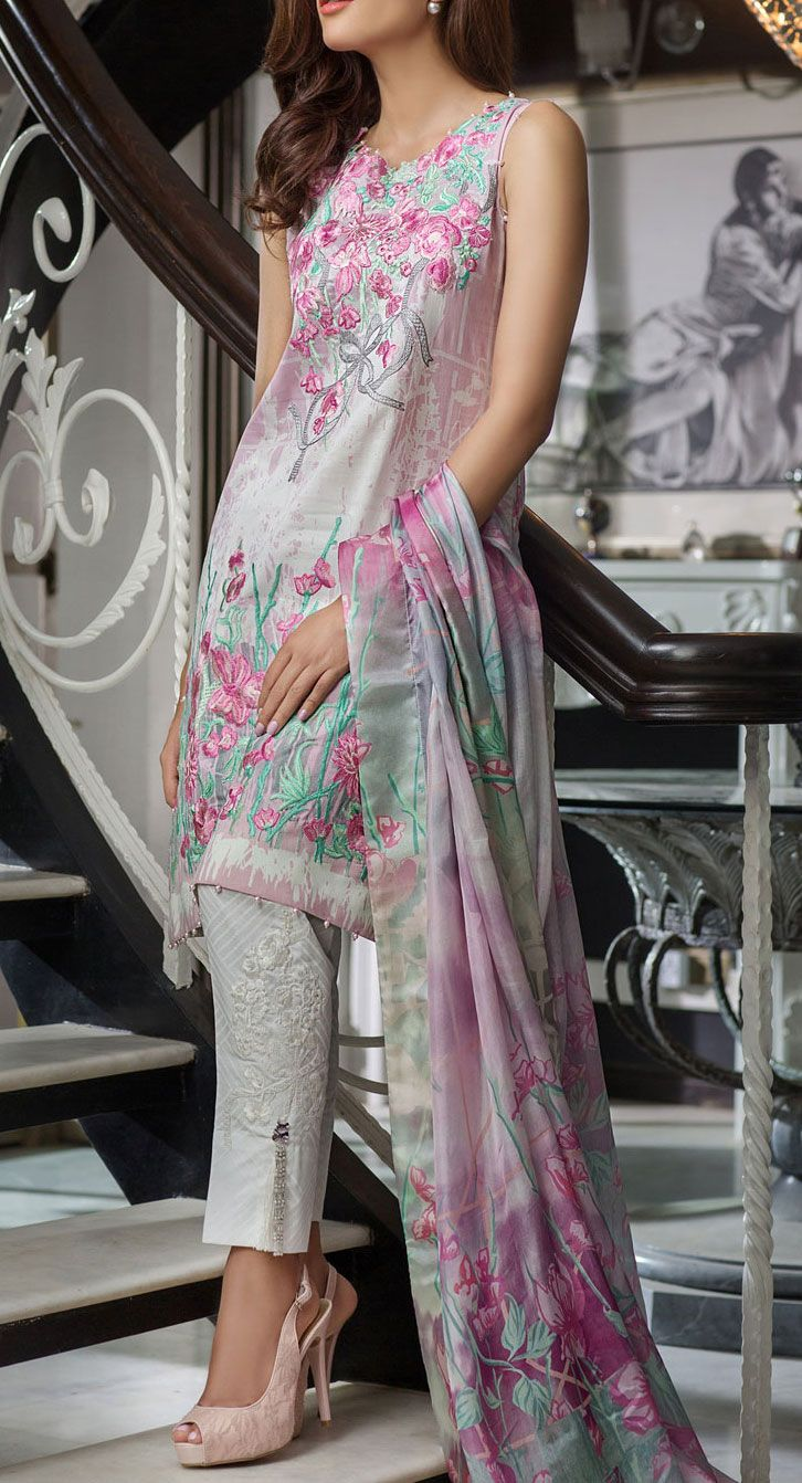 Buy Pink Embroidered Cotton Lawn Dress by Rungrez 2016 Contact: 702-7513523 Email: info@pakrobe.com Skype: PakRobe