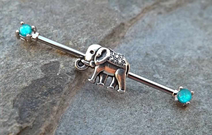 Industrial Barbell Tiny Elephant Fire Opal Blue Body Jewelry Ear Jewelry Double Piercing