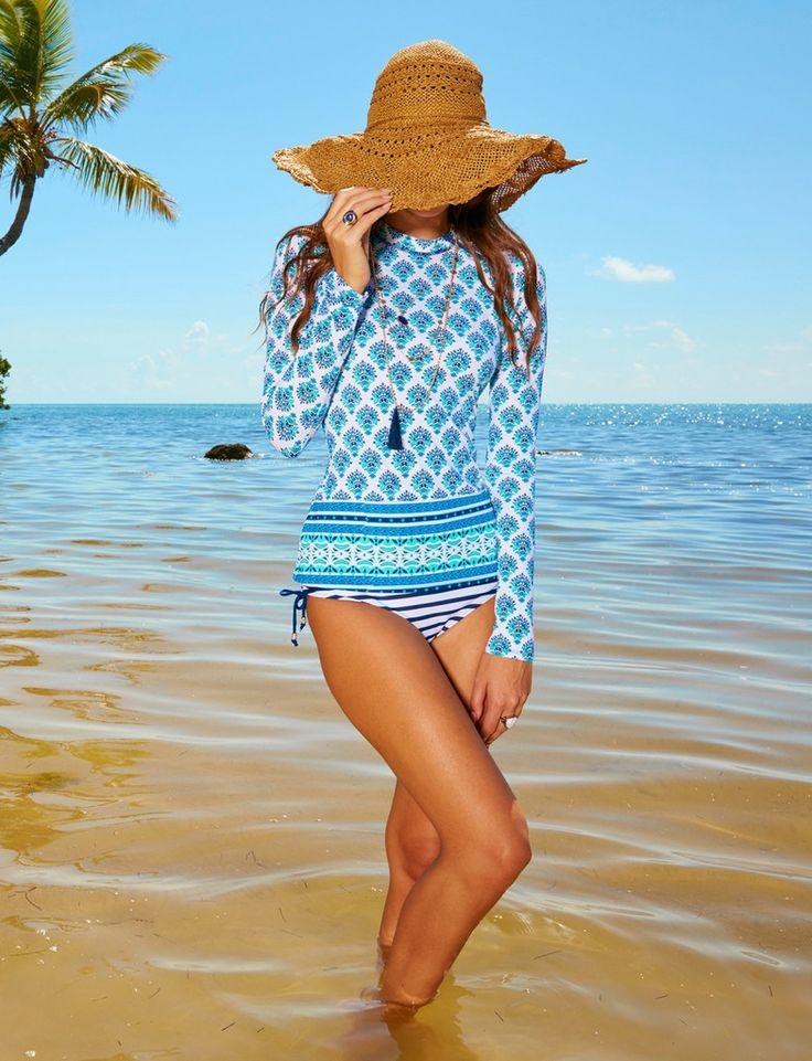 Ladies Zip Swim Shirt  UPF50+