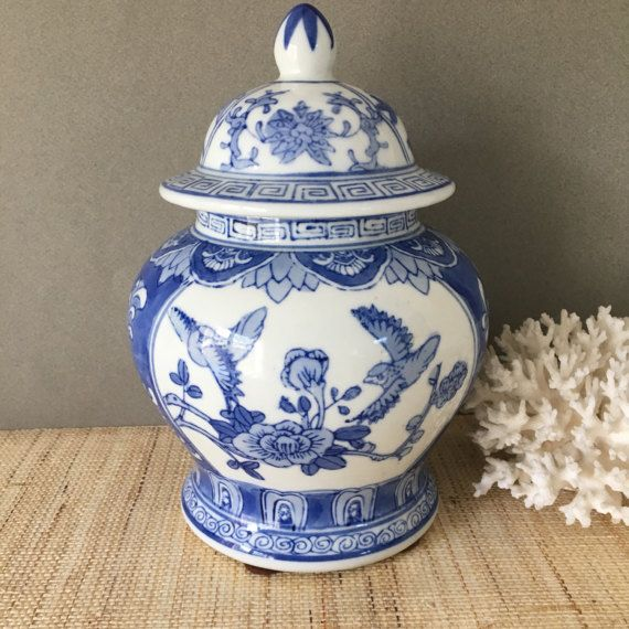 Vintage ginger jar  chinoiserie vase  by PalmTreesandPelicans