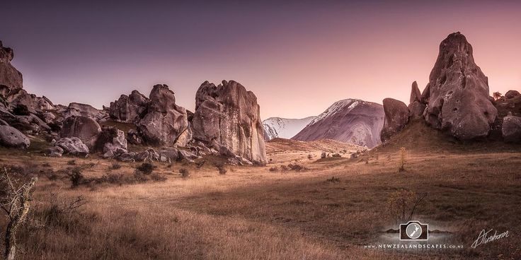Soft light panoramic print of rocks at Castle Hill