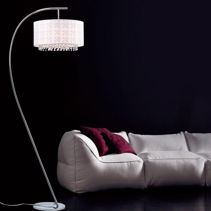 Warehouse of Tiffany Dorita White Fabric 49-inch 1-light Arched Floor Lamp (White Fabric 49-inch Arched Floor Lamp), Silver