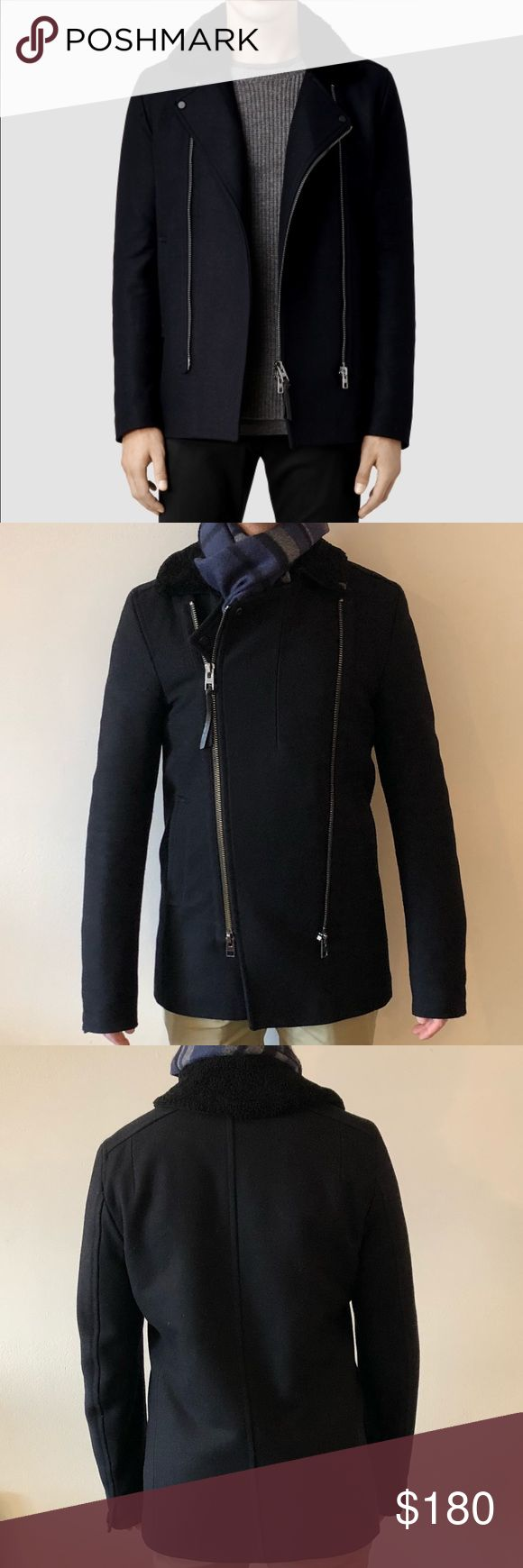 All Saints black pea coat with Sherpa collar All Saints wool black pea coat with double front zipper detail, Sherpa collar, and slash front pockets. Minor pilling and small piece of sherpa missing from corner of collar (shown in picture). Overall great condition. Size XS. All Saints Jackets & Coats Pea Coats