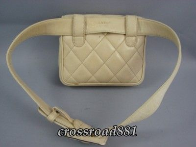 dior beige waist pouch handbag | ... Authentic Chanel Diamond Quilted Beige Lamb Leather Waist Pouch Good