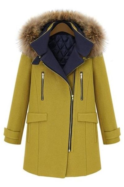 Faux Fur Hooded Solid Color Coat
