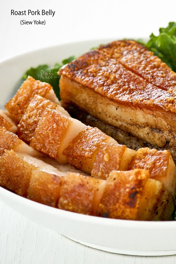 Crispy, crunchy, crackly Roast Pork Belly is a favorite of many. It can be made at home with just 4 ingredients and a little bit of patience. | RotiNRice.com