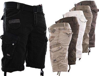 geographical norway herren cargo shorts kurze hose short bermuda + gürtel sommer
