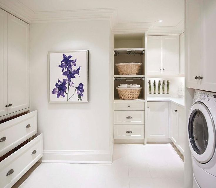 Laundry Room with Pull Out Drying Racks, Transitional, Laundry Room