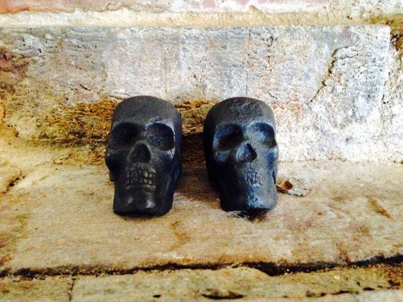 Cast Iron Skull Paperweight by JuntiquesFinds on Etsy