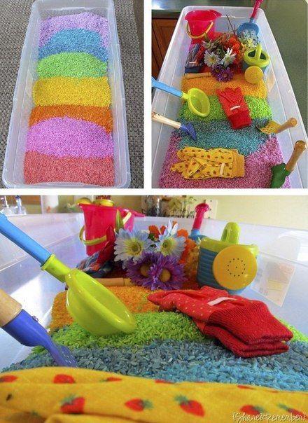 Цветной рис для детских игр