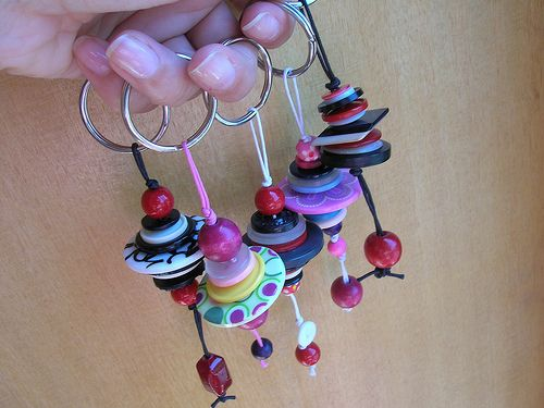 colourful keyrings with buttons and beads