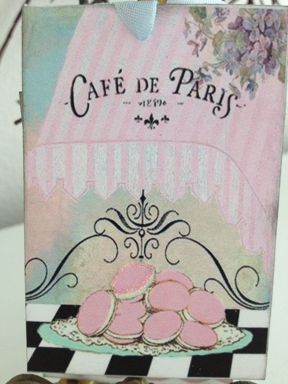 Paris Shabby Chic Birthday Party Tags / Garden Party / Cafe De Paris / Set of 6 / Bridal Shower / Baby Shower