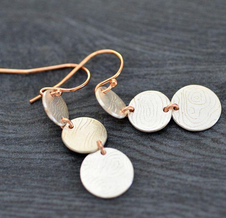 Silver and Rose Goldfill earrings handcrafted by Luminous Design Store on Etsy  #silverearrings #sterlingsilver #dangleearrings #giftforher