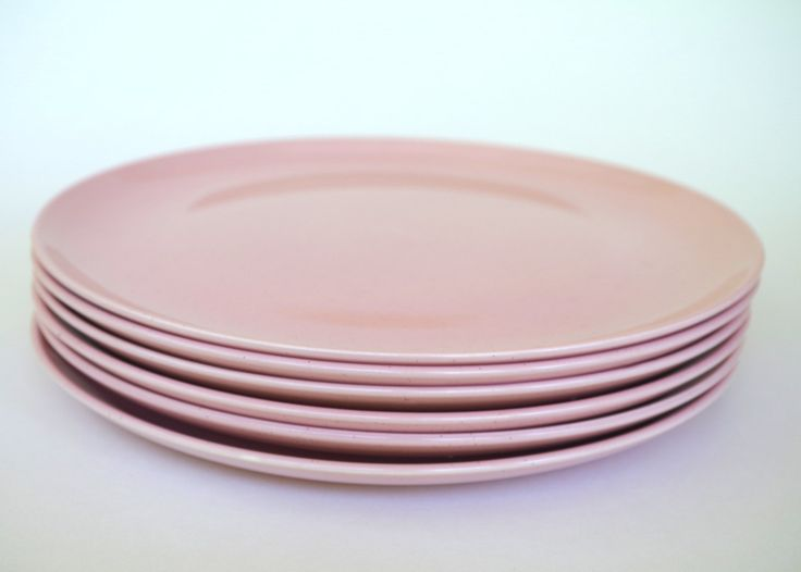 Vintage Taylor Smith Pebbleford Pink Dinner Plates Set of 6 Pink Speckled by retrowarehouse on Etsy