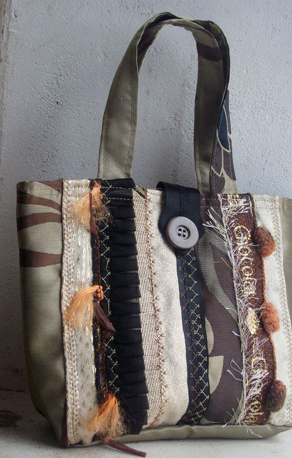 OOAK Hand bag from recycled sample fabrics in Coffee by BagsByEthicals