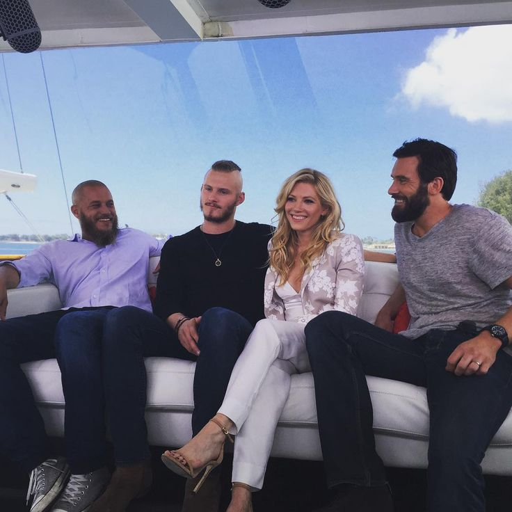 Travis Fimmel with Alexander Ludwig, Katheryn Winnick, and Clive Standen | TV Guide yacht for San Diego Comic Con 2015