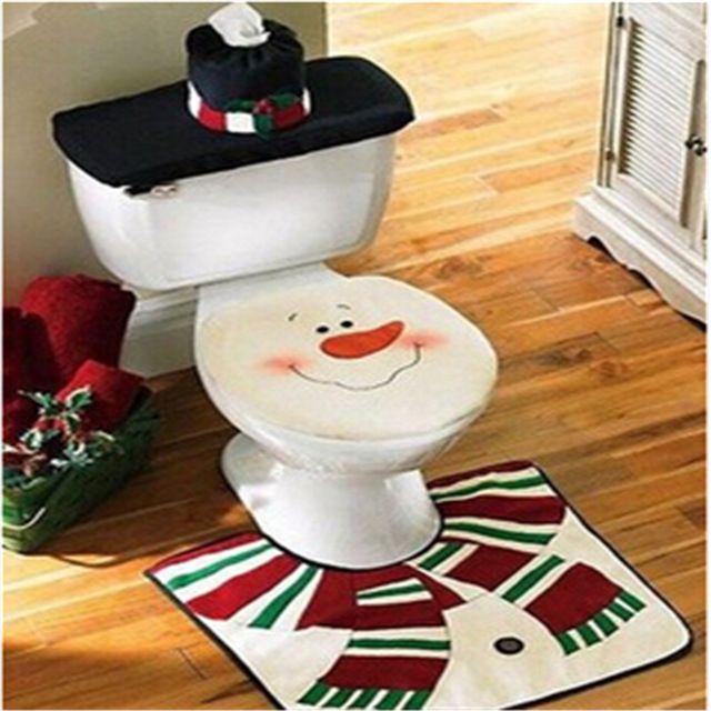 Papai Noel tampa de assento do vaso sanitário tapete acessórios do banheiro conjunto de banheiro fornece produtos de Natal decorações de Natal em casa