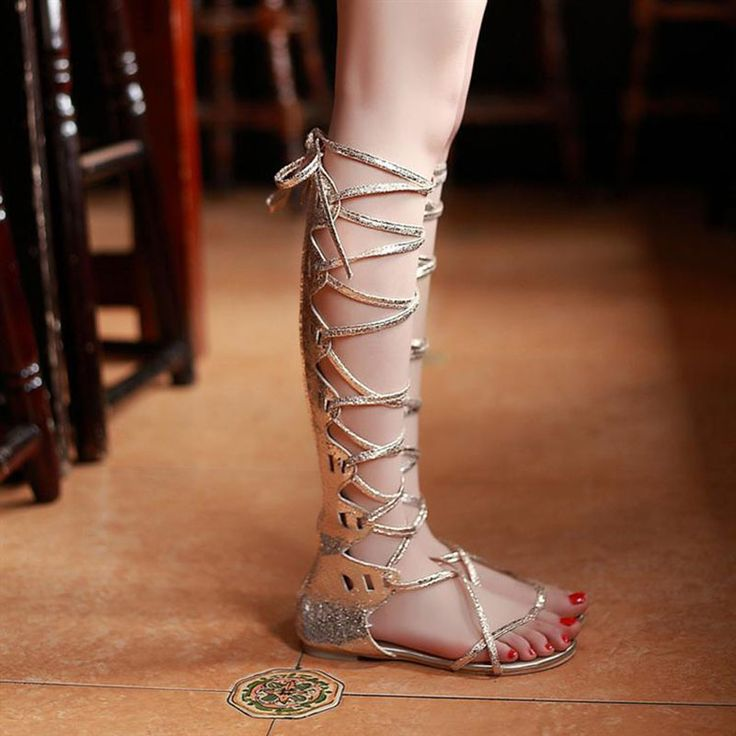 Gladiator women cool casual cutout cross straps lacing flat sandals summer  flat heel female plus size