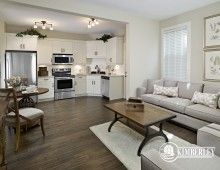 The main floor flex suite includes this open concept living space, as well as a full bathroom and large bedroom. There is a separate entrance off the garage and is perfect for rentals or as an in-law suite. The Amethyst plan with secondary suite, by Kimberley Homes, Edmonton