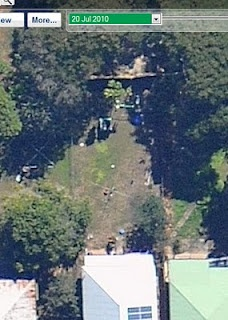 Areal view of our yard AFTER the large Chinese elm was removed...