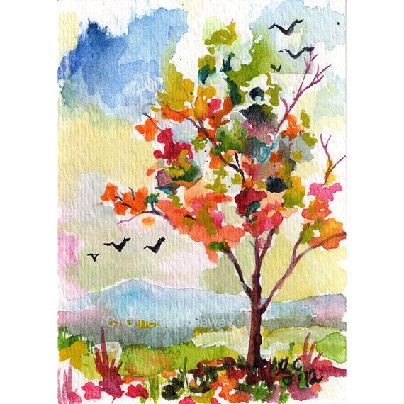 Autumn Tree Bird Migration Landscape Original ACEO Painting by Ginette Callaway  Watercolor and Ink