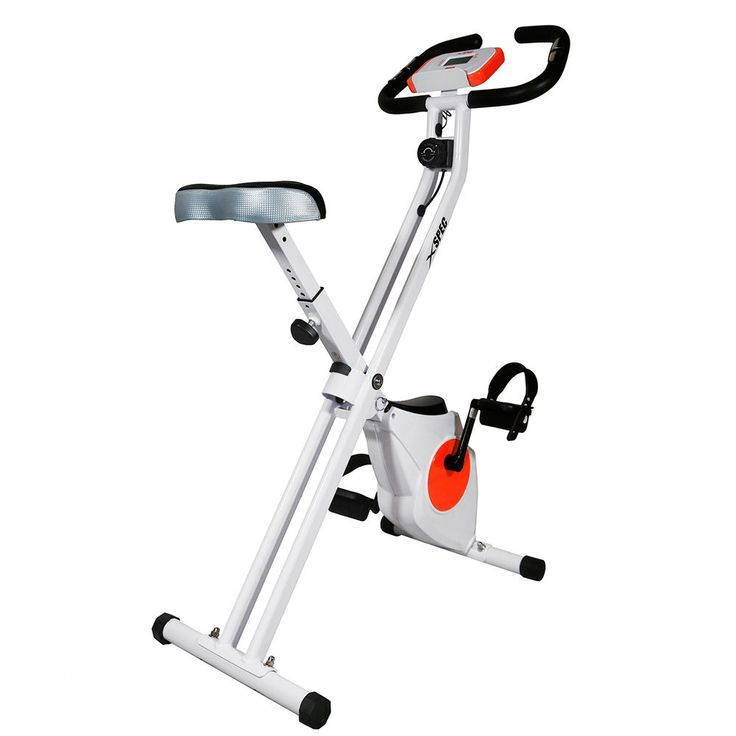 xspec foldable stationary upright exercise bike cardio workout indoor cycling