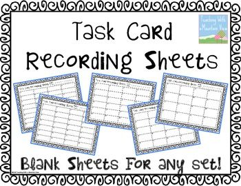 FREE Blank Task Card Recording Sheets! Need a recording sheet or a different number of blanks on a recording sheet? In this document, I've included several different pages with different numbers of blanks for you to use with any set of task cards.
