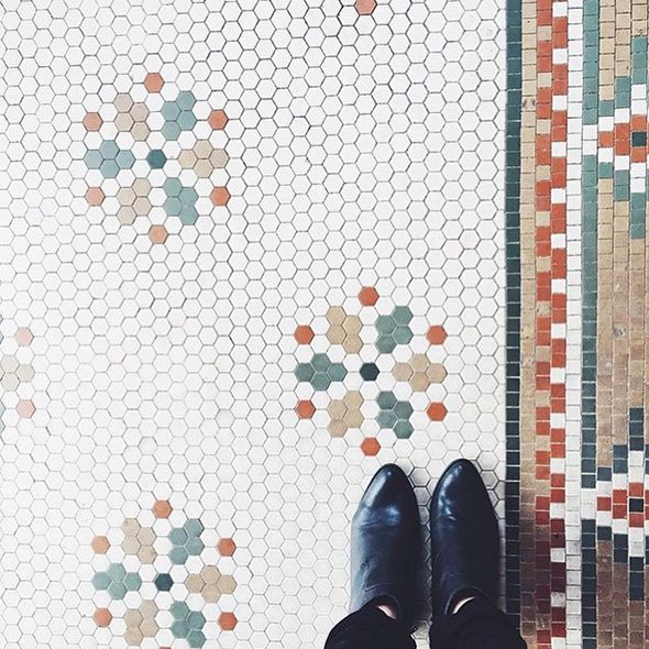 snowflake pattern hex floor tiles. Floor Inspiration