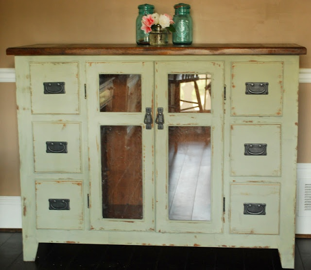 Between Blue and Yellow: Chalk Paint BuffetDining Room, Painting Buffets, Furniture Rehab, Painting Furniture, Blue, Yellow Chalk Painting, Furniture Ideas, Painting Green Furniture, Laundry Room