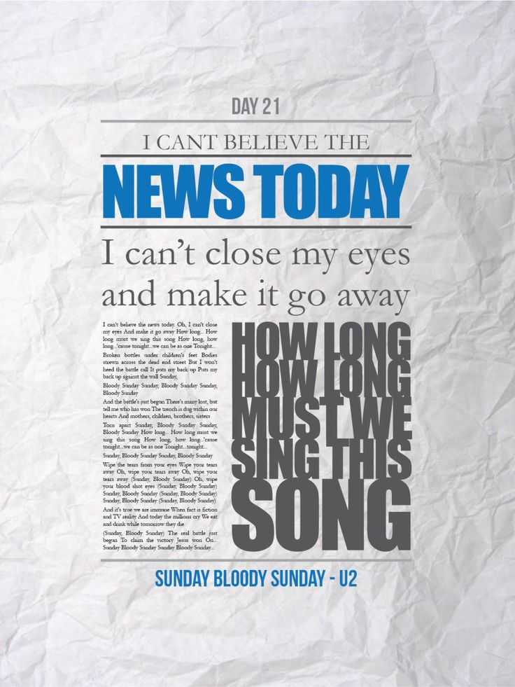 Song Challenge Day 3: song you know the words to- Sunday Bloody Sunday by U2