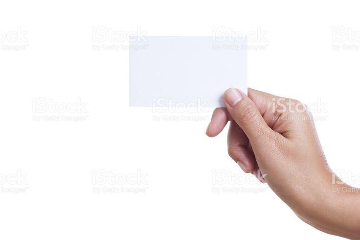 Mano agarrando en blanco tarjeta de negocio foto de stock libre de derechos