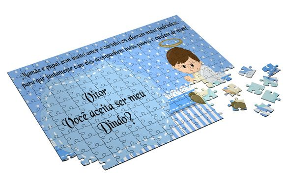Quebra-cabeça personalizado convite para batizado 35 peças.  *fotos Meramente ilustrativas.  18X14cm.  Personalizamos a escolha do cliente.  Quebra-Cabeça produzido em papelão (iguais aos quebra-cabeças tradicionais).