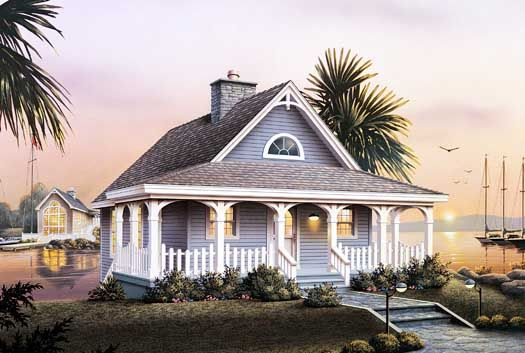 Cottage Style House Plans - 1530 Square Foot Home , 1 Story, 2 Bedroom and 1 Bath, 0 Garage Stalls by Monster House Plans - Plan 77-164