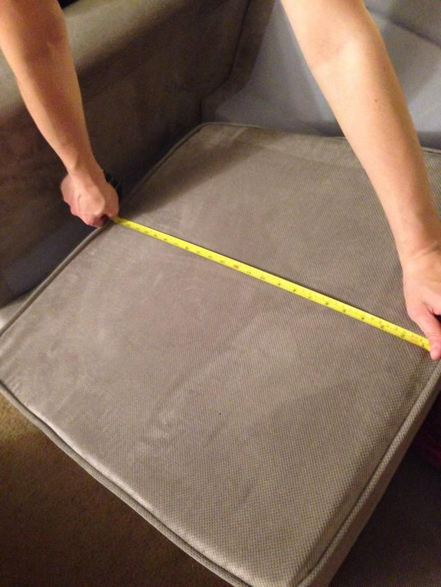 Measure the width of the couch from inseam to inseam. Write the number down.
