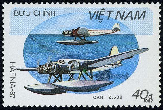Stamp: Cant Z. 509 (Vietnam) (International philatelic exhibition HAFNIA'87 - Hydroplanes) Mi:VN 1866
