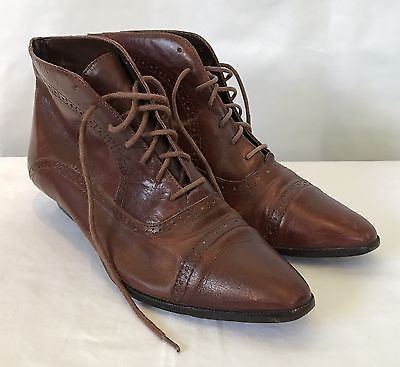 Vintage Ladies Brown Leather Granny Boots Ankle Booties Size 8.5 Retro Fashion  | eBay