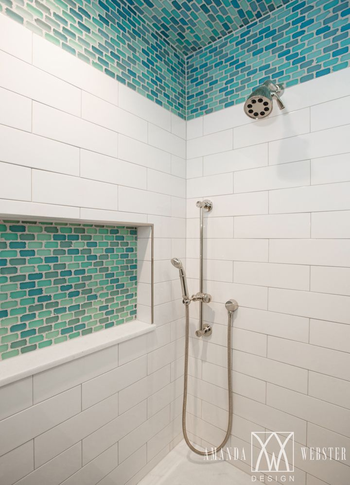 shower with turquoise accent tile | Amanda Webster Design